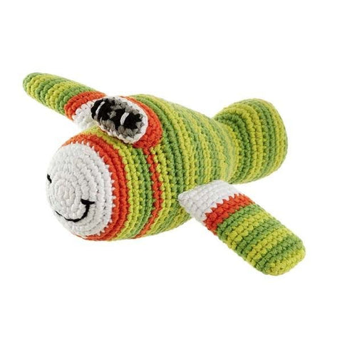 Plane Crochet Rattle Green