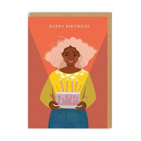 Girl With Cake Birthday Card