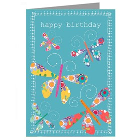 Butterflies Birthday Card by Kali Stileman