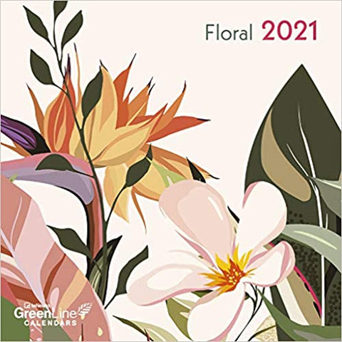 2021 Floral GreenLine Mini Grid Calendar