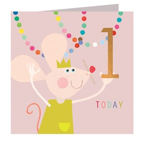Mouse and Pompoms 1 Today Card
