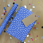 White Spot On Blue Gift Wrap