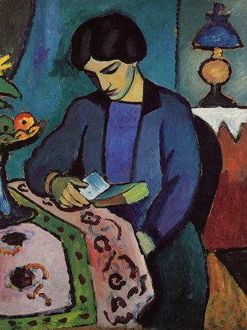 Blue Girl Reading Card by August Macke