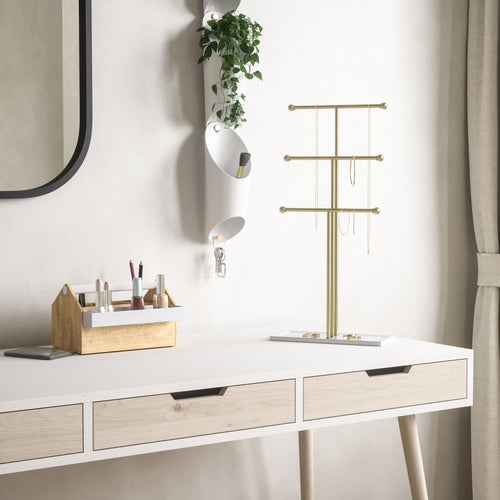 Jewelry Stands | color: White-Brass | Hover