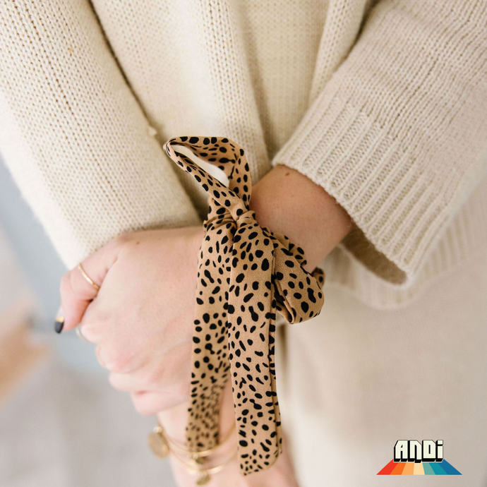 Mini Cheetah Long Bow Scrunchie - Love and Neutrals