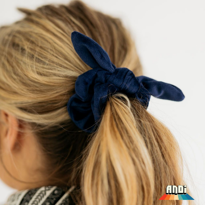 Navy Blue Velvet Scrunchie - Love and Neutrals