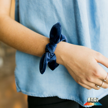 Load image into Gallery viewer, Navy Blue Velvet Scrunchie - Love and Neutrals