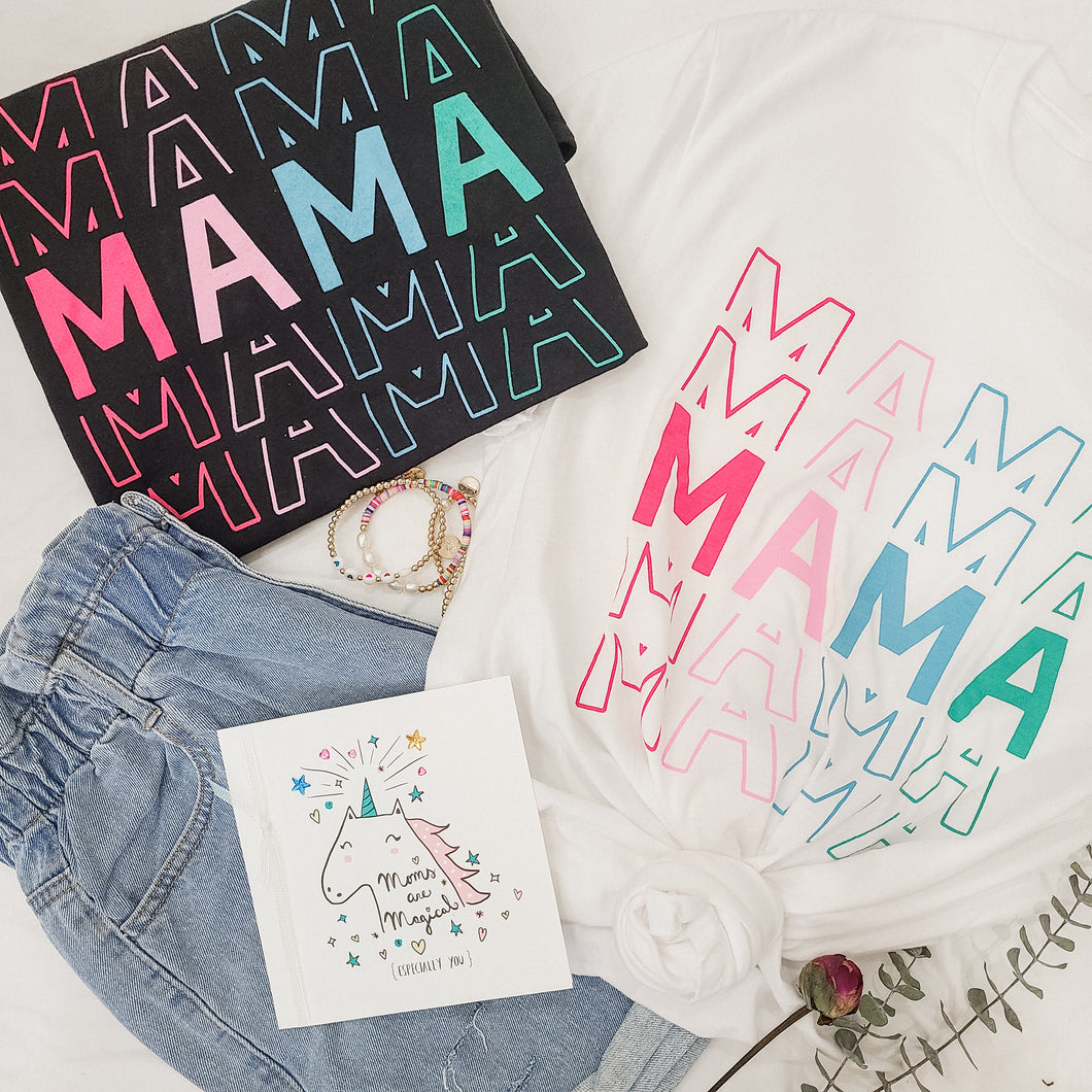 Mama On Repeat White Tee - Love and Neutrals