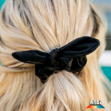 Load image into Gallery viewer, Black Matte Velvet Scruchie - Love and Neutrals - Boutique