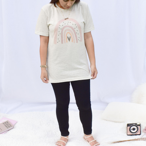 Be Happy Rainbow Tee - Love and Neutrals - Boutique