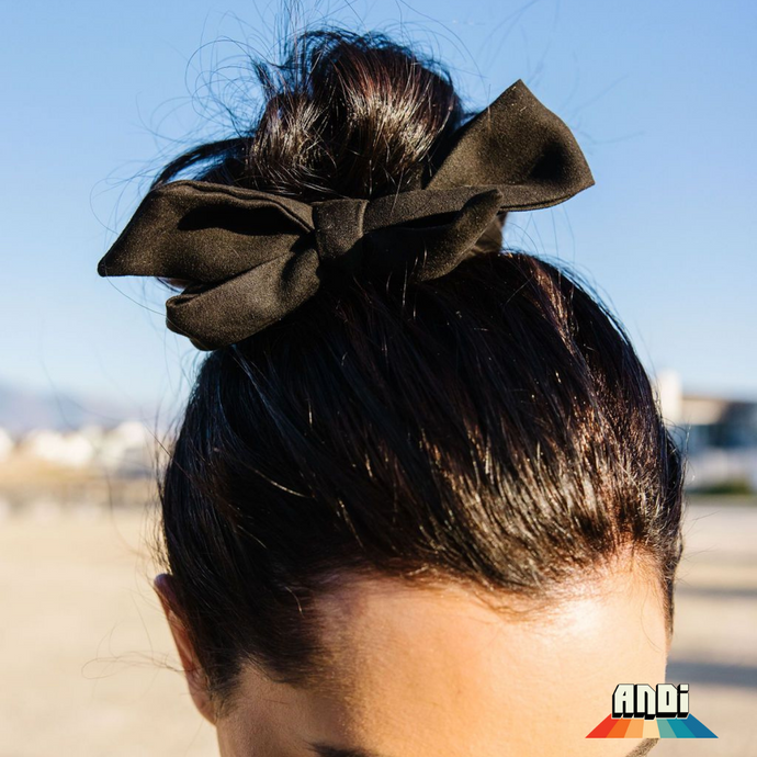 Black Suede Hair Scarf - Love and Neutrals