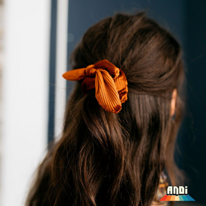 Burnt Orange Pleated Velvet Scrunchie - Love and Neutrals