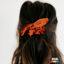 Load image into Gallery viewer, Burnt Orange Pleated Velvet Scrunchie - Love and Neutrals