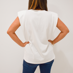 Ella Shoulder Pad Tee - Love and Neutrals - Boutique