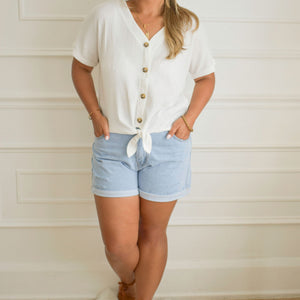 Callie Front Tie Top - Love and Neutrals - Boutique