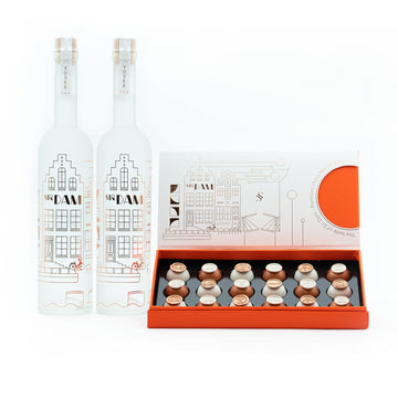 Gift package XL - 2 Sir Dam premium vodka 0,7L & 1  Bonbon box 18 stuks - Amsterdam Vodka | Official Sir Dam webshop