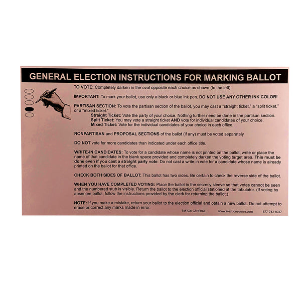 Oval Absent Voter Ballot Marking Instructions General Election
