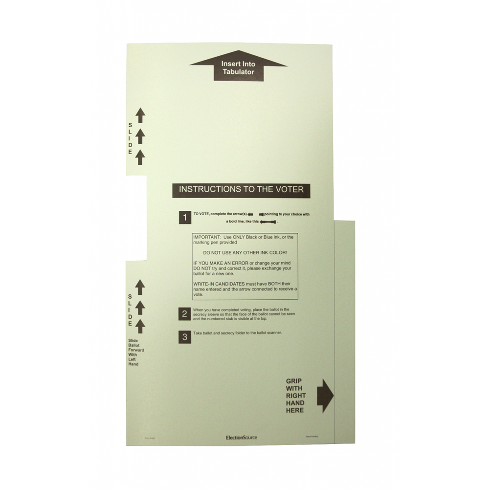 Three Column Ballot Secrecy Sleeve