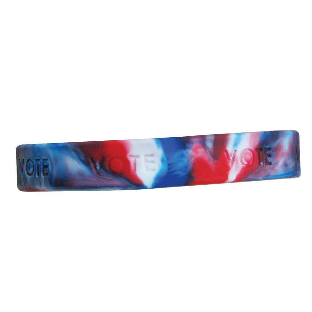 VOTE Wrist Bands in Red, White & Blue - Item No. PS-WBAND