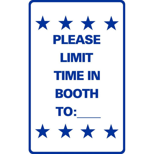 PLEASE LIMIT TIME IN BOOTH TO:___ SG-306F