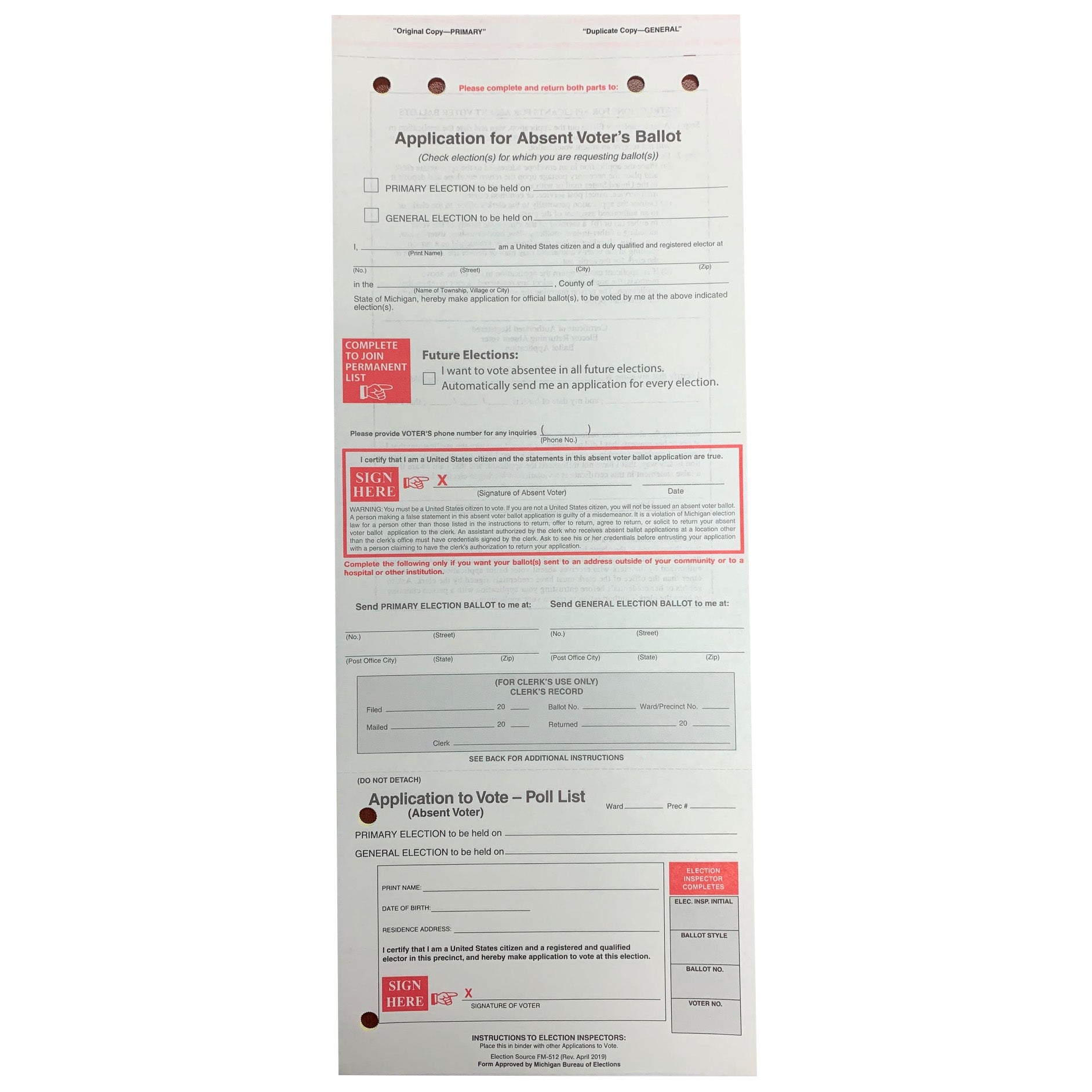 Application for Absent Voter Ballot, Dual
