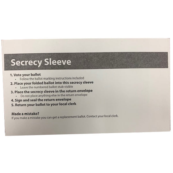 Absent Voter Secrecy Envelope