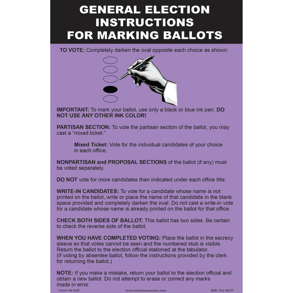 Oval Ballot Marking Instruction for General Election