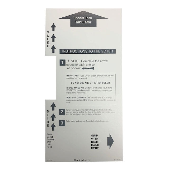 Two Column Ballot Secrecy Sleeve, 14''