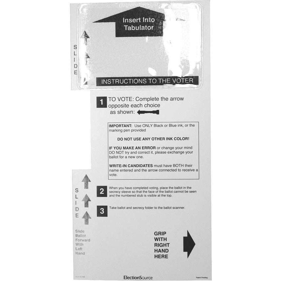 Two Column Ballot Secrecy Sleeve, 14'' with Application Pocket