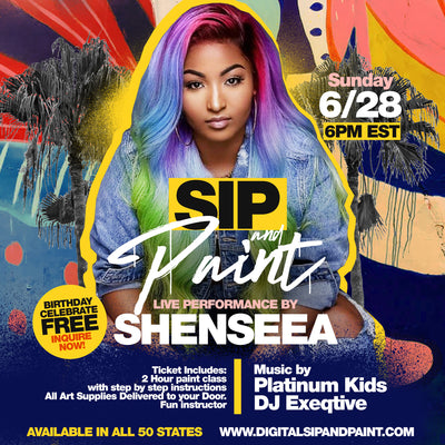 Sip and Paint With Live Performance With shenseea  Sunday june 28th
