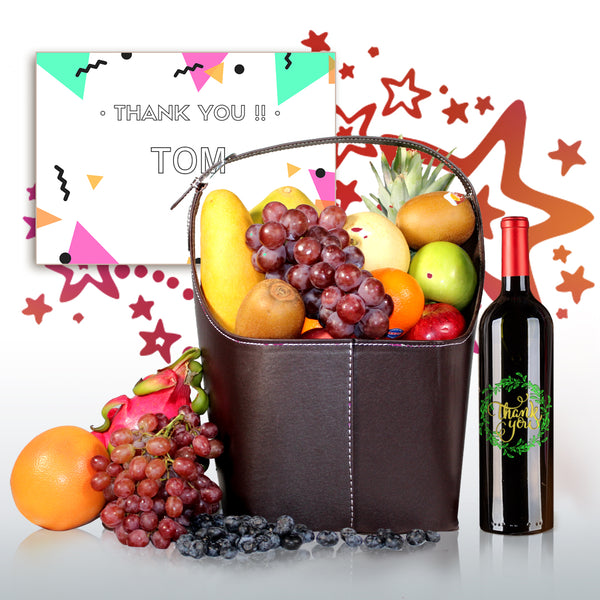 Thank You! Premium Fruit Hamper - Design Your Own Wine