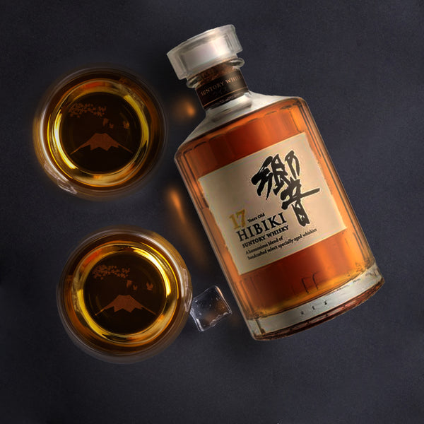 富士山威士忌對杯 | Fuji Moutain Whisky Pair Glasses | 杯底人手手工雕刻 - Design Your Own Wine