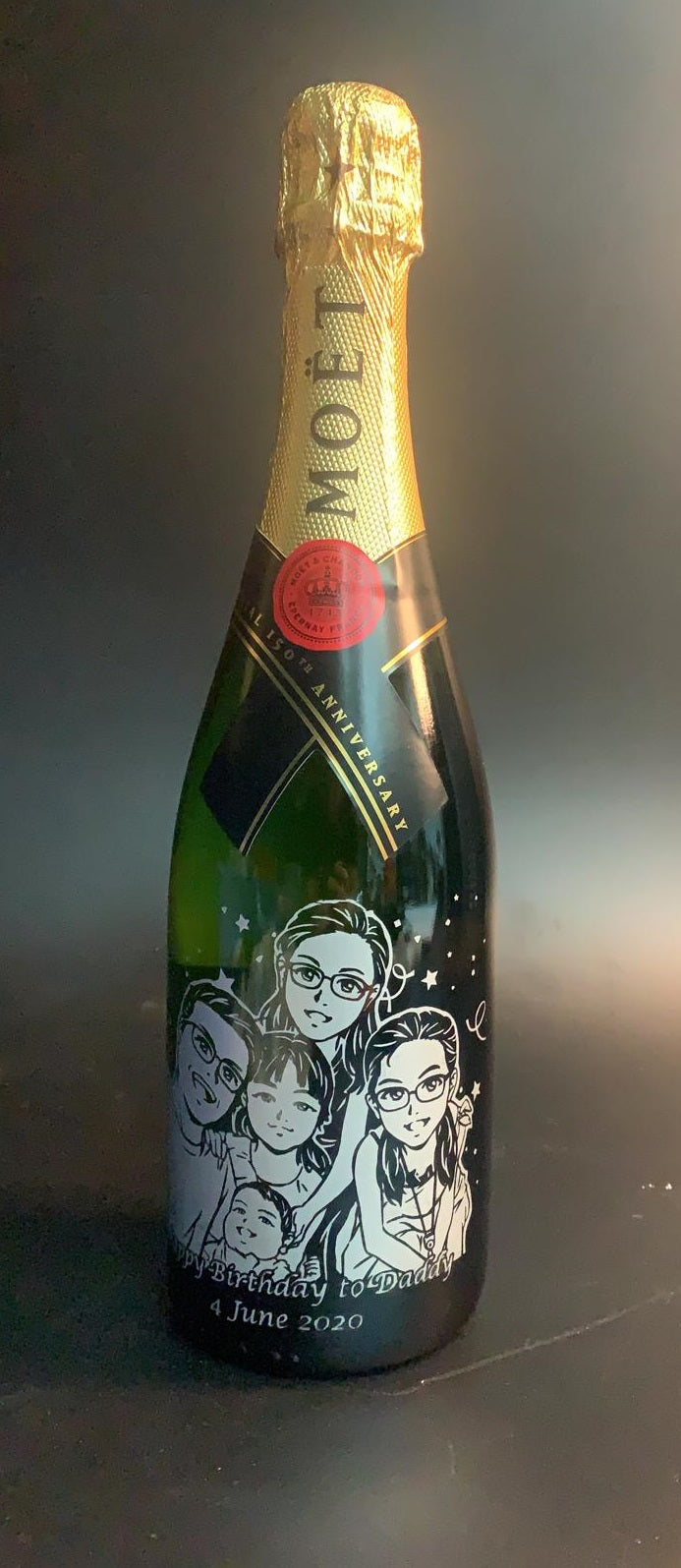 Cute Cartoon Style Cartoon Engraving | Personalize Champagne & Sparkling Wine - Design Your Own Wine