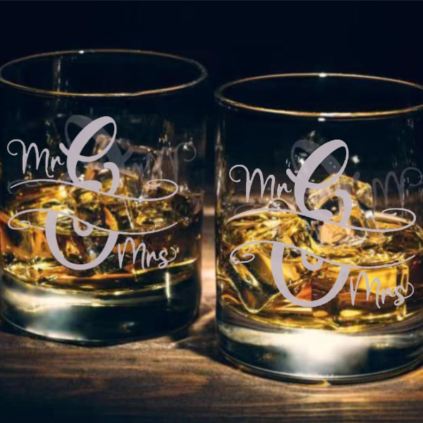 情侶文字定制威士忌對杯 | Custom Couples Wording Whisky Glasses ( Pair) | Mr&Mrs - Design Your Own Wine