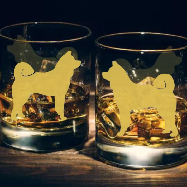 狗狗文字定制威士忌對杯 | Custom Dog Wording Whisky Glasses ( Pair) | Akita - Design Your Own Wine