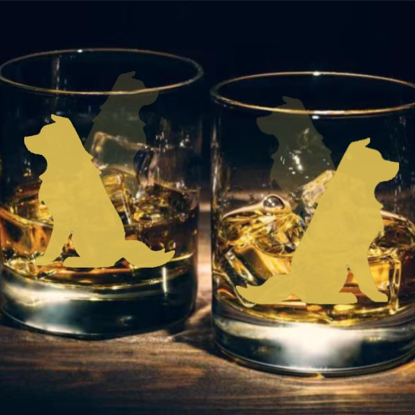 狗狗文字定制威士忌對杯 | Custom Dog Wording Whisky Glasses ( Pair) | Chinese native dog - Design Your Own Wine