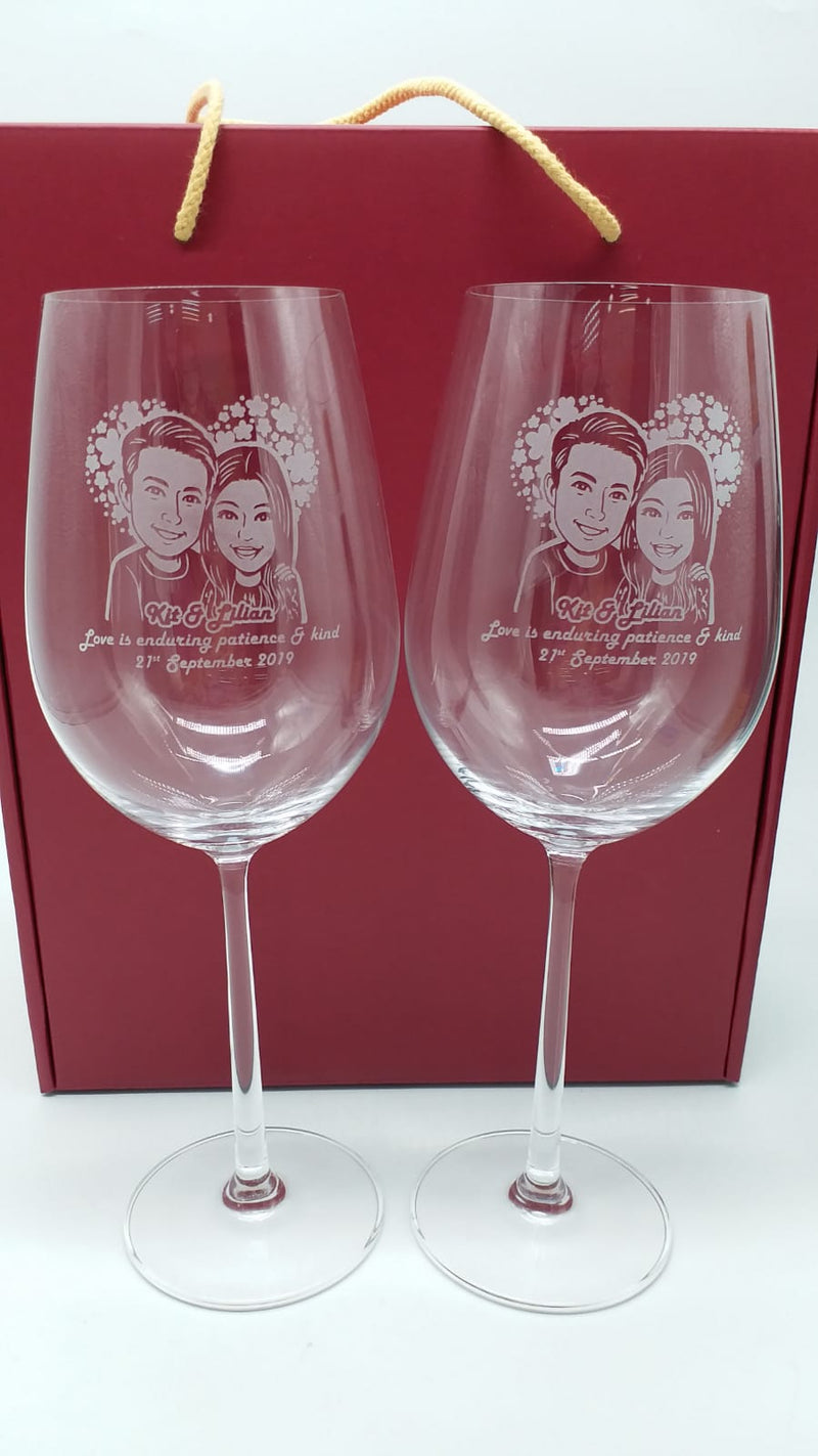 Personalize Crystal Red Wine Bordeaux Glasses (Pair) - Design Your Own Wine