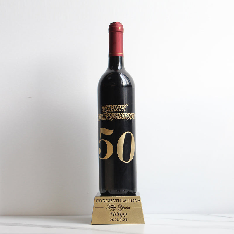 圖案雕刻紅酒獎座 | 榮休 | template Retirement Trophy | Hong Kong Corporate Gift - Design Your Own Wine