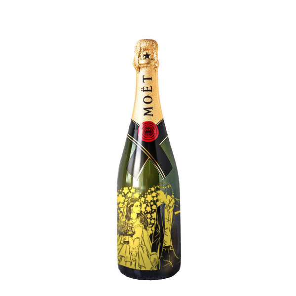 Japanese Style Cartoon Engraving | Personalize Champagne & Sparkling Wine - Design Your Own Wine