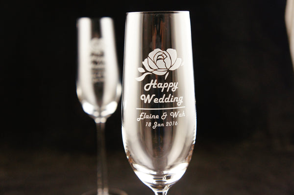 Personalize Crystal Champagne Glasses (Pair) - Design Your Own Wine