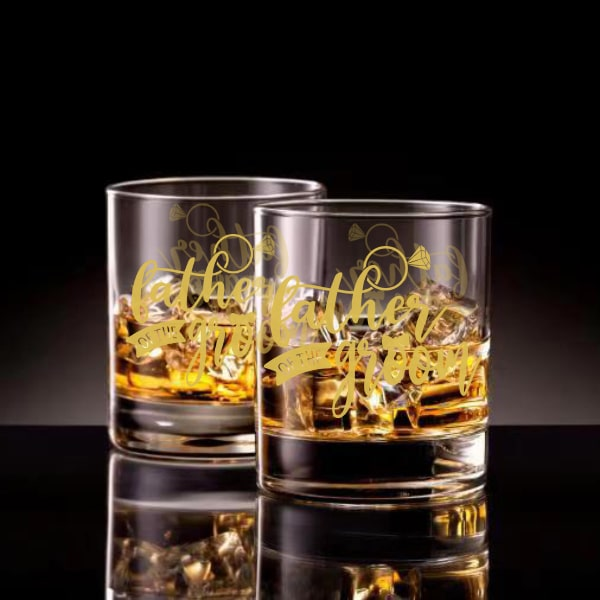 父親新郎文字定制威士忌對杯 | Custom Father groom Wording Whisky Glasses ( Pair) | Father groom - Design Your Own Wine