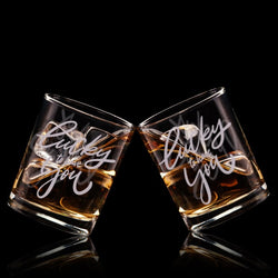 幸運文字定制威士忌對杯 | Custom Lucky to have you Wording Whisky Glasses ( Pair) | Lucky to have you - Design Your Own Wine