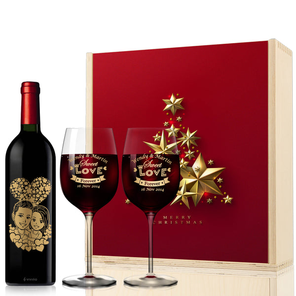 Christmas Cute Cartoon Style Cartoon Engraving | Personalize Red Wine - Design Your Own Wine