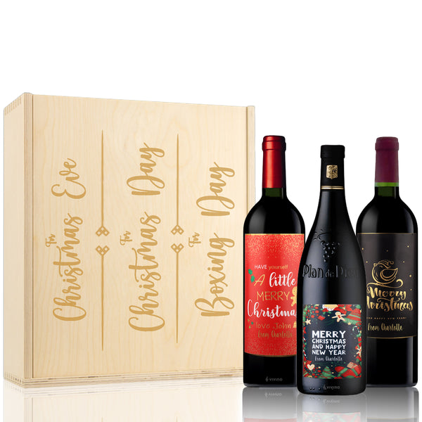 Christmas 3 Days Celebration Sets With Customize Wine Label - Design Your Own Wine
