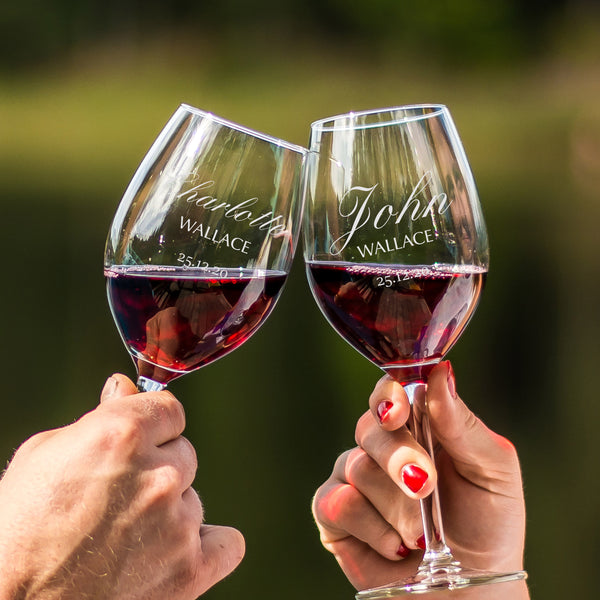 文字定制 Lucaris 紅酒對杯 | Custom Wording Lucaris Wine Pair Glasses | Elegant - Design Your Own Wine