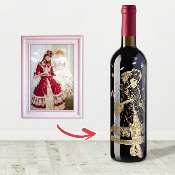 Lolita人像cos雕刻 |Cos Lolita Engraving - Design Your Own Wine