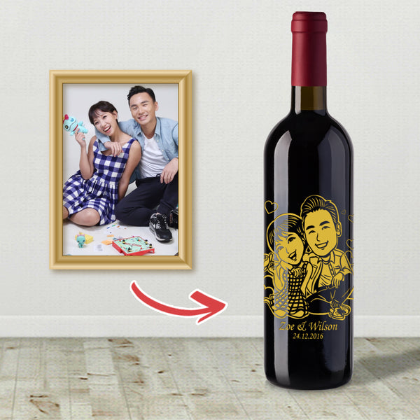卡通人像雕刻 | Cartoon Style Wine Engraving - Design Your Own Wine