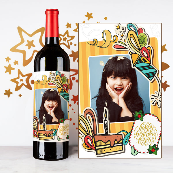 Personalize Cartoon Happy Birthday Wine |  生日定制酒 - Design Your Own Wine