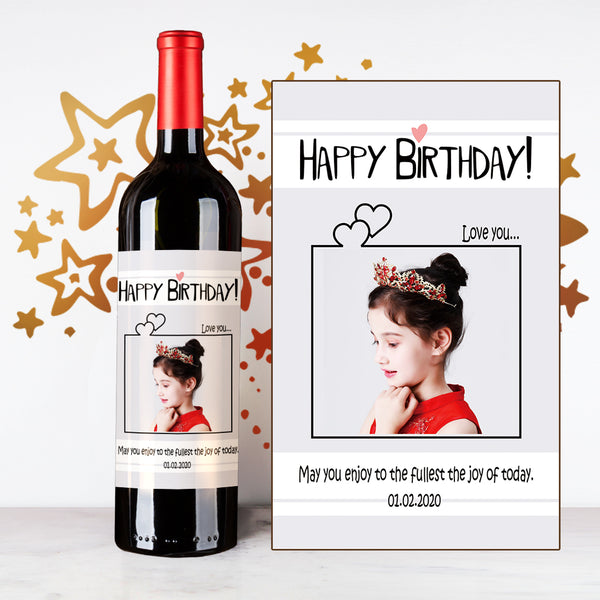 Personalize Cute Rectangle Happy Birthday Wine  | 生日定制酒 - Design Your Own Wine