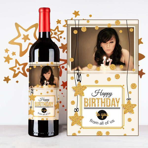 Personalize Golden Star Happy Birthday Wine | 生日定制酒 - Design Your Own Wine